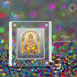 MMTC-PAMP 999.9 Silver Coin Square Shape 50 gm Ganesh