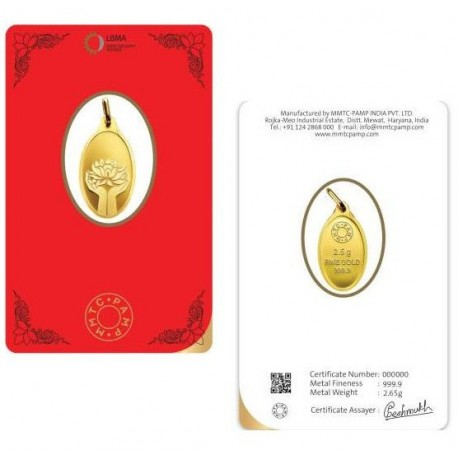 MMTC-PAMP Gold Pendant of 2.5 in 24 Karat / 999.9 Purity / Fineness