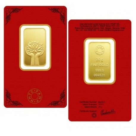 MMTC-PAMP Gold Ingot Bar of 20 Grams 24 Karat in 9999 Purity / Fineness